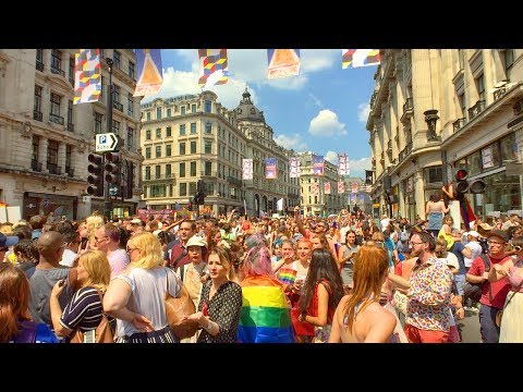 LONDON WALK | Pride in London 2018 - Walking the Crowded Pride Parade Route | England