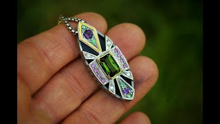 Jeweler Creates  A Beautiful Art Deco Inspired Pendant. Step By Step Creation Of A Masterpiece