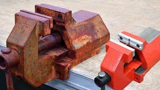 Vise restoration of an old rusty vise, make alu vise jaws on cnc router Schraubstock restaurieren