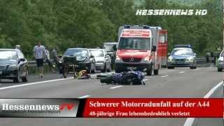 preview picture of video 'Schwerer Motorradunfall auf der A 44 22.06.2012'