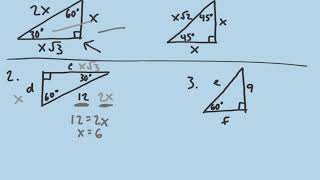 Special Right Triangles 30 60 90, 45 45 90
