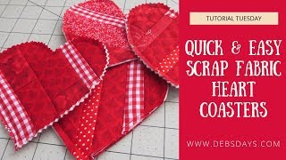 Fabric Scrap Heart Coasters - Easy Sewing Project