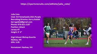 Julia Cote 2021 Lacrosse Highlight Video Fall 2018