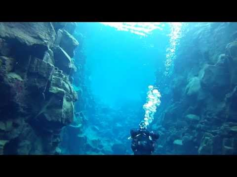Scuba diving on Silfra in Iceland
