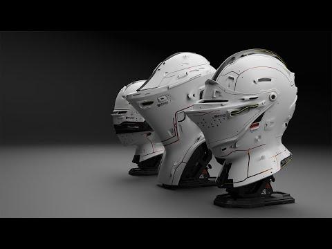 3D SCI-FI Mediaeval Helmet design Bearek down