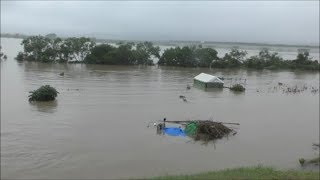 岡山県内で記録的大雨倉敷市付近の高梁川が氾濫寸前の危険水位2018年7月7日撮影大雨特別警報河川氾濫危機