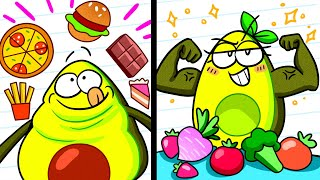 JUNK FOOD vs HEALTHY FOOD    Vegetables Go on a Diet    Avocado Couple