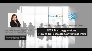 COVID-19 TDBO | EP27 Microaggressions: How to De-escalate Conflicts at Work