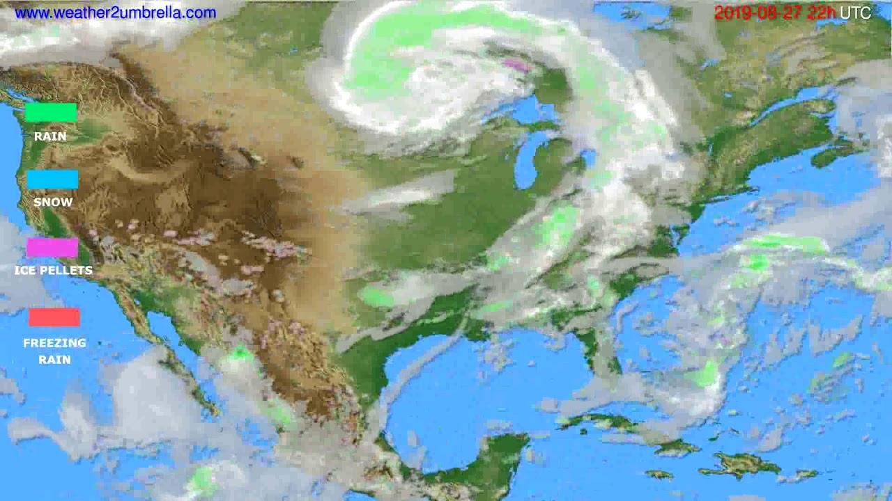 Precipitation forecast USA & Canada // modelrun: 00h UTC 2019-08-25