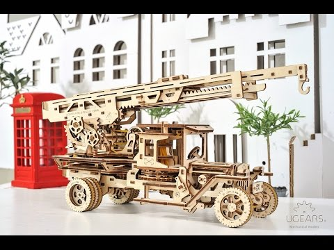 UGEARS Wooden 3D Fire Truck Kit - Lever Operated Rotatable