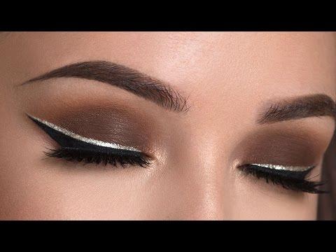 Brown Smokey Eye & Glitter Eyeliner Makeup Tutorial