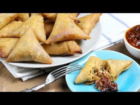 Curried Rice Samosa | How to fold Samosa | Schezwan Sauce