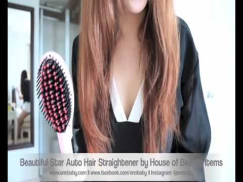 Electric Hair Straightener Brush LCD Auto Temperature Control Iron Brush Massager