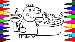 Coloring Page Peppa Pig George In The Bathroom Bathtub Book Pages