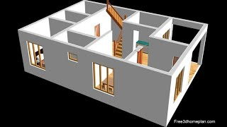Small Home Design Plan 10x12m  2 Bedrooms , American Kitchen With Car Parking  2020