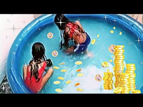DESAFIO DA MOEDA NA PISCINA QUEM PEGA MAIS MOEDAS GANHA  (pool challenge)