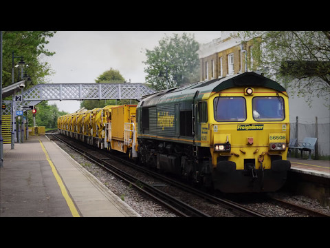 Freightliner 66508 & 66519 pass Sandwich with Network Rail H…