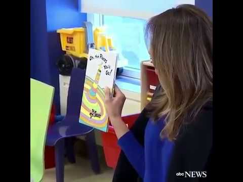 First Lady Melania Trump visits new york hospital and read a book to kids