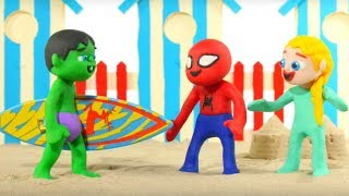 SUPERHERO BABIES HAVE FUN AT THE BEACH ❤ Spiderman, Hulk & Frozen Elsa Play Doh Cartoons For Kids | Kholo.pk
