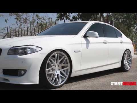 White BMW 5 Series with 22