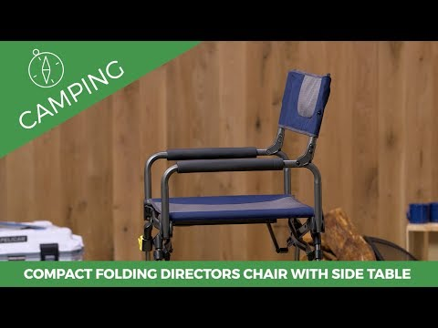 Compact Folding Directors Chair with Folding Side Table