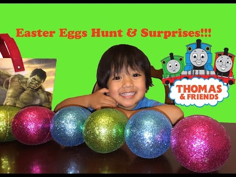 Ryan Opens easter eggs surprise thomas the tank engine train and friends