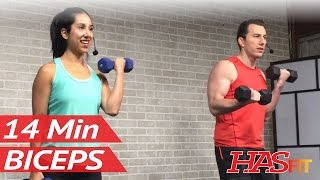 14 Min Dumbbell Bicep Workout - Biceps Workout at Home - Bicep Workout with Dumbbells Bicep Exercise by HASfit