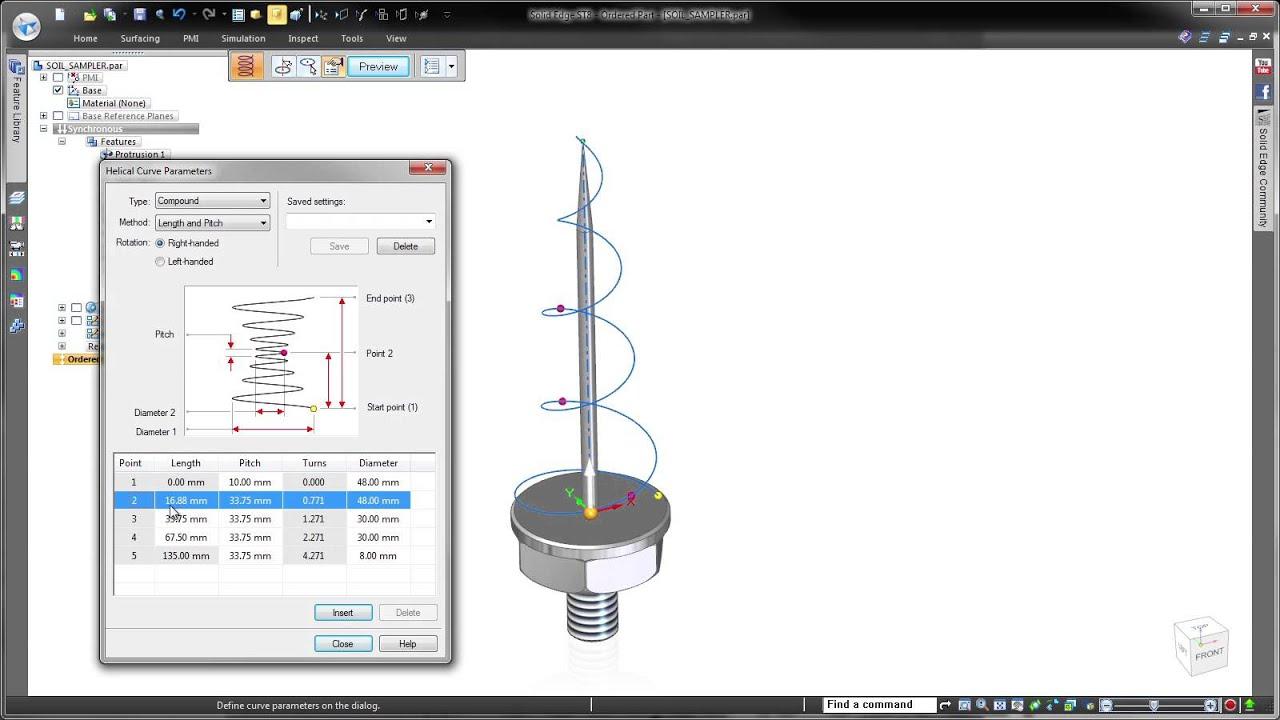 Vorschaubild: Solid Edge ST8: Schraubenkurven