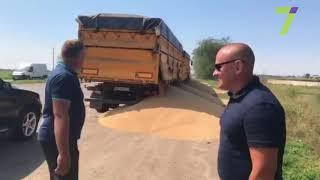 Проверка на перегруз в Одесской области: водитель высыпал зерно на обочину (видео)
