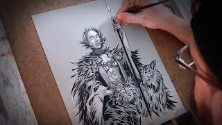Drawing The Goddess Freya With Ink - Art Time Lapse