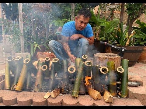 ( Kralan Long Beach.)   Grilled Sticky Rice in the Bamboo Tubes  ការដុតកាឡាន Long Beach