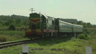 Прыжки тепловоз ЧМЭ3-2396 / Jumping CME3-2396 with a passenger train