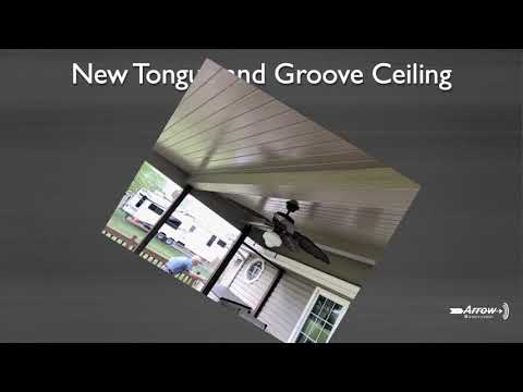 Arrow installed new tongue and groove ceiling with James Hardie Plank Primed covering the beams.