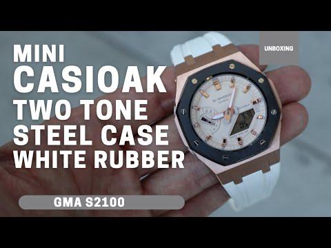 Mini CasiOak GMAS2100 Rose Gold Metal Bezel Fluorine White Rubber Watch Strap Length For Casio G-Shock GMAS2100