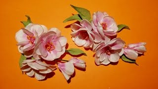 Fabric Flowers How To Make: Sprig Of Cherry Blossoms/цветы из ткани: веточка сакуры