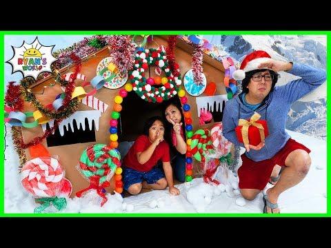Ryan DIY Giant Gingerbread House Pretend Play Box Fort!!!!