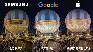 Samsung Galaxy S20 Ultra vs Apple iPhone 11 Pro Max vs Google Pixel 4 XL Low Light Comparison!