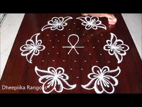 muggulu rangoli design lotus flower by dheepiika rangolis