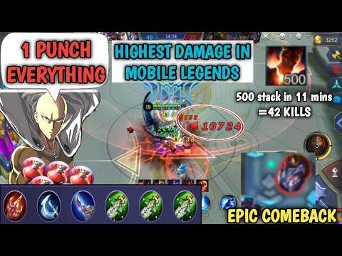 1 HIT EVERYTHING | 500 stack in 11 mins | HIGHEST DAMAGE IN MOBILE LEGENDS