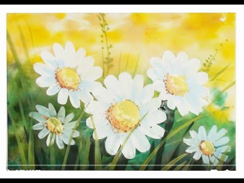 Как нарисовать цветы поэтапно.  Ромашки на лугу. Поэтапный рисунок