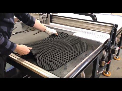 Планшетный режущий плоттер для раскроя резины. Резка автомобильных ковриков на планшетном плоттере