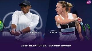 Taylor Townsend vs. Simona Halep   2019 Miami Open Second Round   WTA Highlights