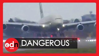 Two pilots flying an Etihad A380 pulled off a dangerous crosswind landing at London's Heathrow airport, as Storm Dennis battered the UK.  Extraordinary footage captured the skilful manoeuvre that led to a successful touchdown of the world's largest passenger plane.   Winds of up to 50mph were recorded at the capital's main airport, after severe weather warnings were issued across the UK and Ireland.  #StormDennis #Landing #A380  Report by Gianluca Avagnina.  Subscribe here: http://bit.ly/ODNsubs  Twitter: https://twitter.com/ODN  Facebook: https://www.facebook.com/ODN/  If you wish to purchase any of our clips for commercial use, please visit: http://www.itnproductions.co.uk/news/