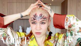 Grimes's Pregnancy Skincare & Psychedelic Makeup Routine   Beauty Secrets   Vogue