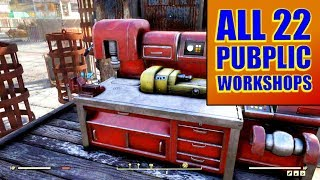 FALLOUT 76 - All 22 Public Workshop Locations - Unlimited Free Resources