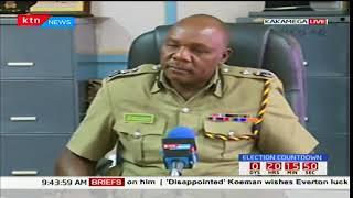 Kakamega police commander Tito Kilonzi addresses the media in regards to election security