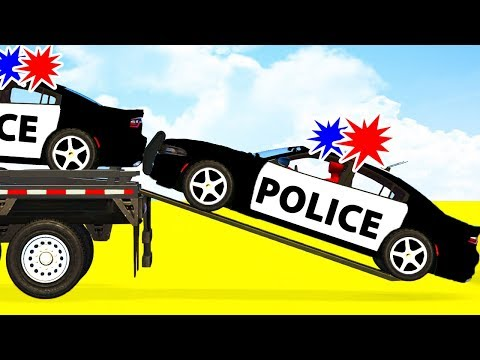 LEARN COLOR W Police Cars Transportation - Spiderman Cartoon For Babies Superheroes For Kids!
