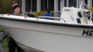Ben Orefice was surprised by Make A Wish with a parade and a boat at his home in Niantic on Wednesday