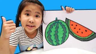 Bé Bún Vẽ Con Gà Chiếp Bằng Đất Sét Xốp – Bố Bé Bún Vẽ Quả Dưa Hấu Coloring Watermelon Foam Clay