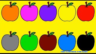 Learn Colours For Kids With Apples Balloons Colouring Page | Colors for Kids | The Surprise For Kids